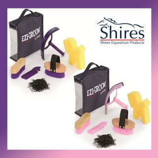 Shires Grooming Kit Tools Brushes Equestrian Horse Pony Tack Box Stable Showing