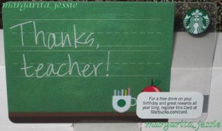 "Starbucks ""Teacher Appreciation"" 2012 Thanks Collectible Gift Card No Value New"