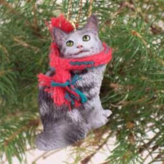 New Xmas Ornament Maine Coon Cat Grey Cute