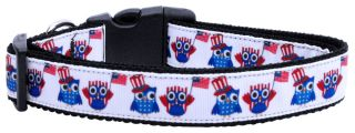 American Owls Adjustable Nylon Ribbon Pet Dog Collar