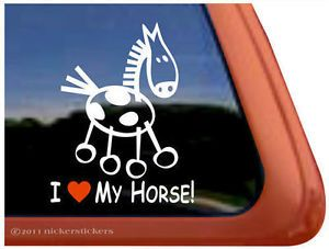I Love My Horse Cute Paint Pinto Stick Horse Trailer Window Decal Sticker