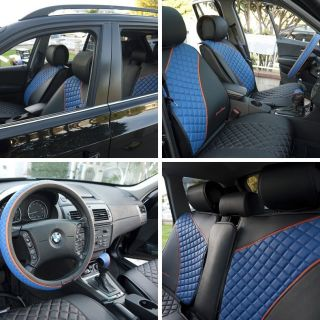 New Circle Cool 33011 Seat Cover Set Black Blue Leather Universal Car SUV Truck