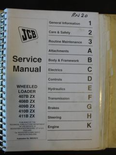 JCB 407B 408B 409B 410B 411B ZX Wheel Loader Service Manual