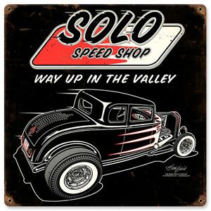Solo Speed Shop 1932 Ford Vintage Metal Sign Gasser Deuce Hot Rod Rat Rod