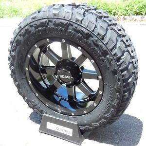 20 Black Gear Big Block Wheels Rims 33 Federal MT Tires Ford F250 F350 Excursion