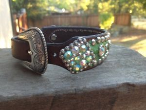 Heritage Brand Dog Collar Green Rhinestone Leather Western