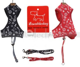Adjustable Soft Pet Dog Safety Harness Mesh Leash Red and Black Any Size New