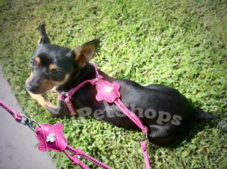 Small Dog Chihuahua PU Leather Personali Dog Leash Dog Harness Adjustable Step