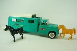 "1960s Buddy L Pressed Steel Riding Academy Horse Truck Trailer 18"" w Horses"