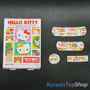 Hello Kitty Kids' Cute Band Aid Bandages Mixed 20 Pads Bonus Ginseng Tea
