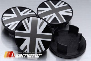 BMW Mini Cooper Union Jack in Black White Center Wheel HUP Caps Set 54mm EMD8