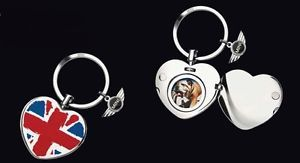 Mini Cooper Key Chain Ring with Heart Locket British Flag Union Jack New