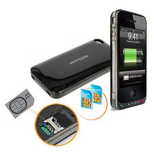 Rebel 2PHONE Extra Battery Power Case with Dual Sim Adapter for Apple iPhone 4