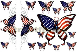 Tribal US Butterfly Graphic Decal Sticker Car Truck SUV