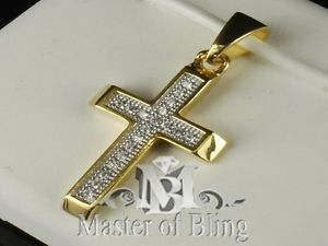 Mens 14 K Yellow Gold Finish Iced Cross Hip Hop Necklace Pendant Lab Diamond