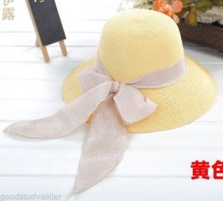 Fashion Chic Women Girl Straw Derby Cap Flax Bow Wide Brim Summer Beach Sun Hat