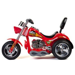 12V Battery Powered Kids Ride on Toy Chopper Motorcycle Car 3 Wheel Red