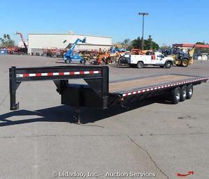 2013 Custombuilt 32' x 8' Tri Axle Flatbed Equipment Trailer Gooseneck w Ramps