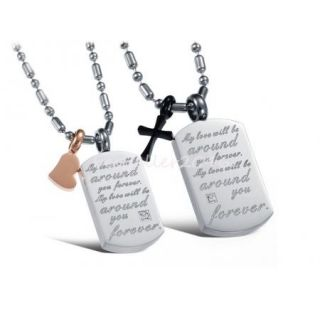 Stainless Steel Love Heart Cross Dog Tag Mens Womens Couples Pendant Necklace