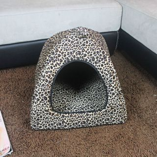 New Leopard Print Pet Dog Cat Bed Indoor House Kennel Nest with Plush Mat Pad
