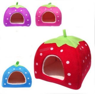 Warmly Beauty Lovely Soft Strawberry Pet Cat Dog Kennel Bed Mat House 4 Colors