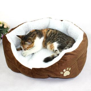 Warm Large Medium Small Soft Pet Dog Cat Indoor House Bed with Plush Mat Pad