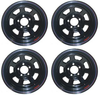 "New 15 x 7 Allied Racing Wheel Set Black 5 x 4 75"" 3"" BS Chevy Buick GM Olds GMC"