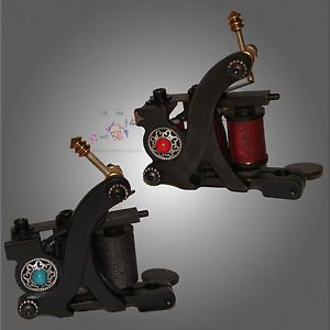 Pair Black Steel Tattoo Machine 10 Wrap Coil Liner Shader Guns Brass Binders