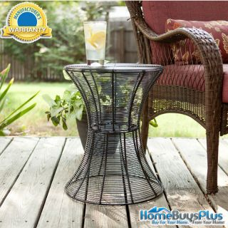 Indoor Outdoor Round Metal Accent Table Black Modern End Patio Porch Furniture