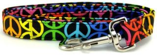 Rainbow Peace Signs Martingale Pet Dog Collar