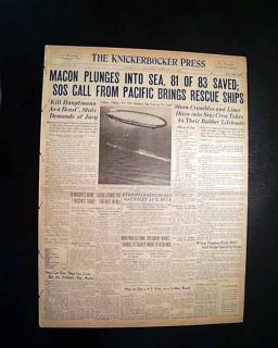 USS Macon ZRS 5 United States Navy Airship Pacific Ocean Crash 1935 Newspaper