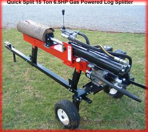 New 6 5HP 15 Ton Hydraulic Log Wood Splitter Gas Powered Engine Motor w Trailer