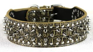 "Hot New 2"" Wide 15 24"" Full Colors Spiked Studded Leather Dog Collars"