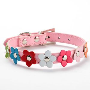 Pink Size XS Puppy Cat Collar Pet Dog Neck Strap Flower Studded Leather Collar