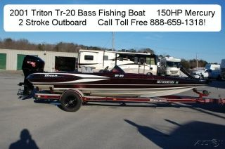 01 Triton TR 20 Used Bass Fishing Boat 150HP Mercury 2 Stroke Outboard 20' Boat