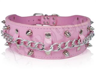 "23 26"" Pink Leather Spiked Chain Dog Collar Large XL"