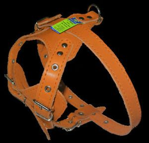 "Leather Dog Harness French Bulldog 18"" 22"" Light Brown"
