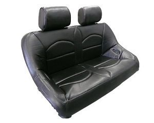 "Yamaha Rhino Rear Bench Seat All Black Vinyl w Head Rest 42"" Wide Easy Cleaning"