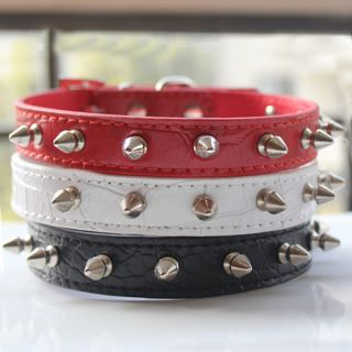 Spiked Studded Leather Dog Collar Large Dog Pet Pit Bull Mastiff Collar s M L XL