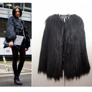 Trendy Black Faux Fur Long Hair Winter Coat Jacket