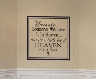 Wall Art Decal Sticker Quote Vinyl Someone We Love Is in Heaven Family Death F45