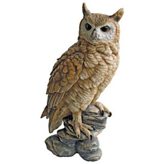 Wise Old Hoot Owl on Perch Garden Sculpture Forest Bird of Prey Statue