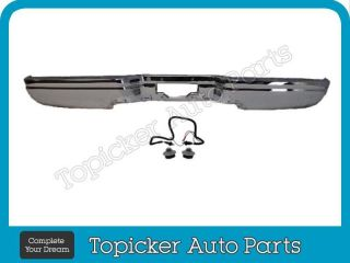 97 03 Ford F150 F250 Styleside Rear Bumper Face Bar Chrome License Light Harness