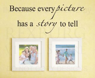 Wall Decal Sticker Quote Vinyl Art Adhesive Every Picture Has A Story Family F44