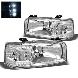 1992 1996 Ford F150 250 350 Bronco Chrome Headlights Corner LED Lights Set