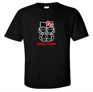 T Shirt Hello Kitty Darth Vader Black Star Wars Empire Jedi Force Sith Cute Dark