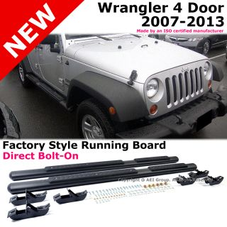 Jeep Wrangler 07 13 4 Door 4inch Black Running Board Side Step Nerf Bar Tubular