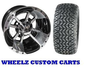 Lifted Golf Cart 22x10 10 ITP All Trail Tires w 10x7 Machined Black Wheels