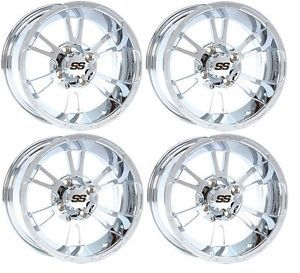 "4 ITP SS112 SS 112 Alloy Aluminum 14"" 14x6 14x8 4 110 Chrome ATV Wheels Rims"
