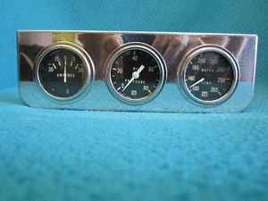 Vtg Stewart Warner Gauge Cluster Amperes Oil Pressure Water Temp Mechanical